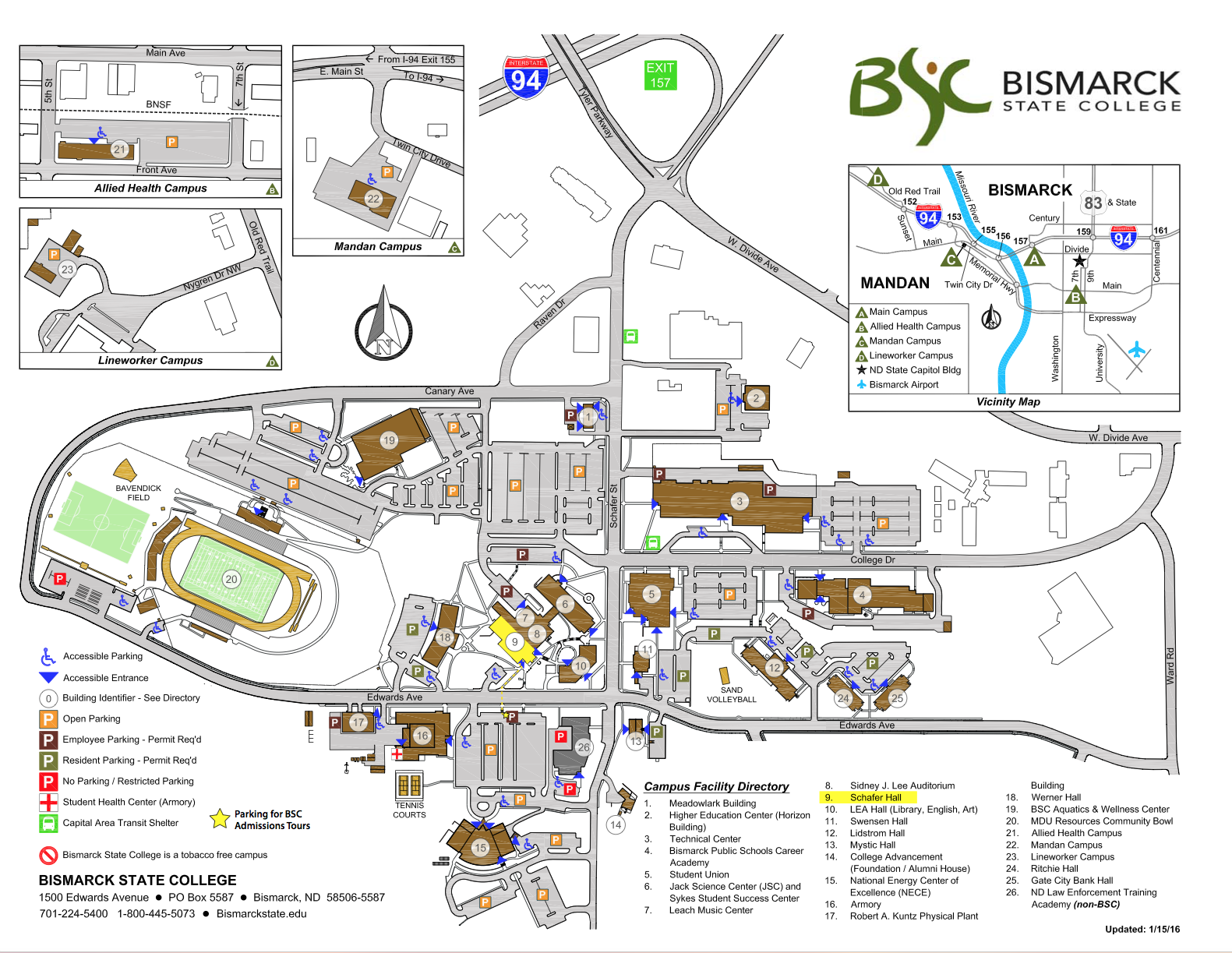 campus directions bismarck state college