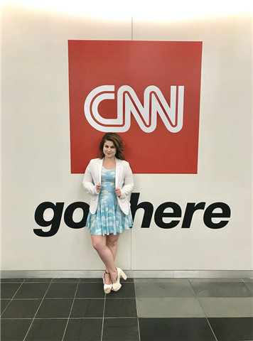 photo of Lindsey Ellefson standing in front of a CNN logo